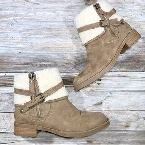 Liz Claiborne Jonesa Brown Fur Ankle Boots 8.5